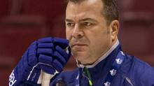 Vancouver Canucks head coach Alain Vigneault looks on during the second day of training camp in Vancouver, British Columbia in this January 14, 2013 file photo. (BEN NELMS/REUTERS)