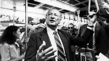 Mayor Edward Koch rides a subway to work in June, 1981. He died on Feb. 1, 2013, at age 88. (CHESTER HIGGINS JR./NEW YORK TIMES)