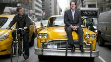 Andrew Murstein and his vintage cab on the street in New York City. (Michael Falco)