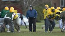 Toronto Mayor Rob Ford was back on the football field with his Don Bosco Eagles in Toronto on Nov. 26, 2012 for their final practice ahead of their Metro Bowl appearance. (Peter Power/The Globe and Mail)