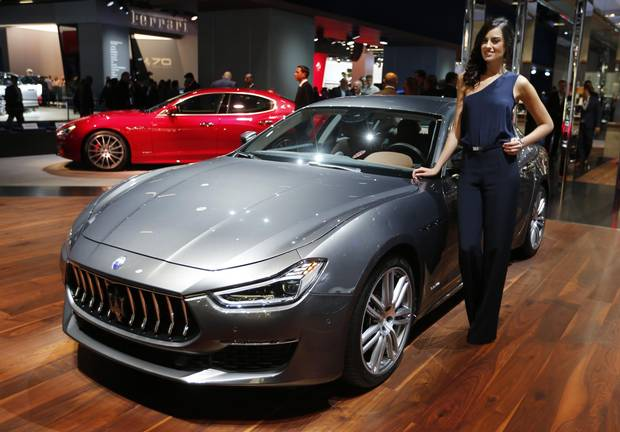 A Maserati Ghibli Granlusso is on display during the first media day of the International Frankfurt Motor Show IAA in Frankfurt, Germany, Tuesday, Sept. 12, 2017, which runs through Sept. 24, 2017.