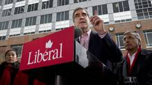Liberal Leader Michael Ignatieff defends gun control outside a Vancouver police station on April 26, 2011. (Paul Chiasson/The Canadian Press/Paul Chiasson/The Canadian Press)