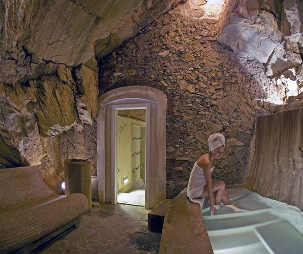 The Hammam dei Granduchi, a romantic natural grotto with a two-person bath fed by a thermal waterfall.