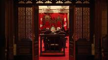 A Senate clerk waits for the start of Question Period in the Senate chambers on Parliament Hill. (DAVE CHAN FOR THE GLOBE AND MAIL)