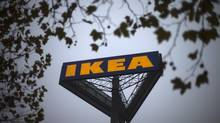 In this Nov. 16, 2012 file photo, a sign bearing the IKEA logo is seen outside a store in Berlin. (Markus Schreiber/AP)