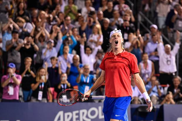 Shapovalov reacts after defeating Adrian Mannarino of France at the Rogers Cup on Aug. 11, 2017 in Montreal.