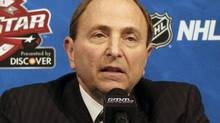 NHL commissioner Gary Bettman says time is running out on the Phoenix Coyotes sale as he speaks before the NHL All Star Skills Hockey competition on Saturday, Jan., 29, 2011, in Raleigh, N.C. (AP Photo/Karl B. DeBlaker) (Karl B. DeBlaker/2011 Associated Press)