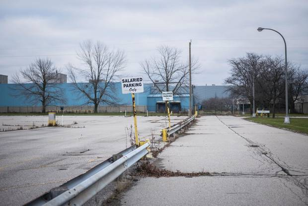 The closed-down Ford plant in St. Thomas, Ont.