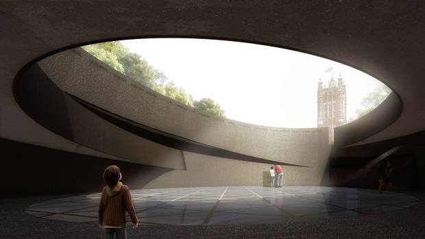 Diamond Schmitt's design for Britain's Holocaust Memorial reveals a view to the Parliament buildings' Victoria Tower from the floor.