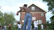 Unlike Hollywood's attempts at portraying basketball, which tend to feel staged, From Deep acutely captures the rhythms of the pickup game. From Deep traces basketball's evolution from ground-bound fundamentals to high-flying spectacle, alongside hip hop's popular ascendancy. Scene for FROM DEEP, a feature length experimental documentary on the history and geography of basketball in America;