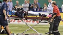 Toronto Argonauts defensive back Neiko Thorpe is taken off the field on a stretcher during first quarter CFL action against the Winnipeg Blue Bombers in Toronto on Thursday Oct. 24, 2013. (Frank Gunn/THE CANADIAN PRESS)