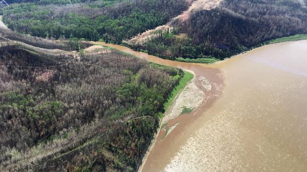 The mouth of the Horse River where it empties into the Athabasca River on June 10 after the first big rainfall event.