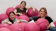 Ugi Fitness co-founders Sara Shears, Deb Karby and Melanie Finkleman, and their Ugi ball (ADAM ROOTMAN PHOTOGRAPHY/COURTESY OF UGI FITNESS)