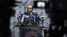 Mahmoud Jibril, head of the National Forces Alliance, talks during a news conference at his party's headquarters in Tripoli July 8, 2012. (ZOHRA BENSEMRA/Reuters)