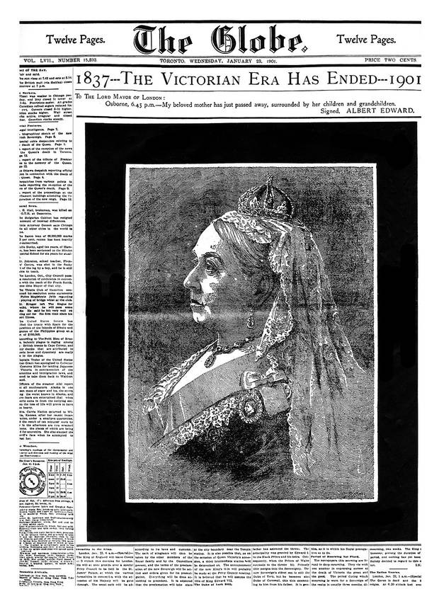 The Globe's front page on Jan. 23, 1901.