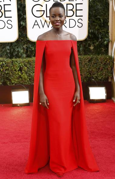 "Actress Lupita Nyong'o of the film ""12 Years A Slave"" arrives at the 71st annual Golden Globe Awards in Beverly Hills, California January 12, 2014. (Mario Anzuoni/Reuters)"