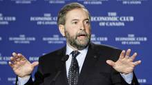 NDP Leader Thomas Mulcair addresses the Economic Club of Canada in Ottawa on April 5, 2012. (FRED CHARTRAND/Fred Chartrand/The Canadian Press)