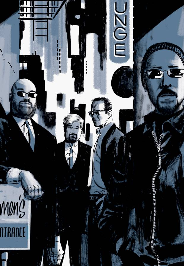 Mr. Cooke, second from right, and writer Ed Brubaker, right, are shown in a portrait used in a deluxe edition of the Parker books. At left are comics journalist Tom Spurgeon and IDW Publishing special project editor Scott Dunbier.