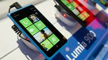 Nokia Oyj Lumia 900 smart phones sit on display during the 2012 International Consumer Electronics Show in Las Vegas, Nev., on Jan. 12, 2012. (Daniel Acker/Bloomberg)