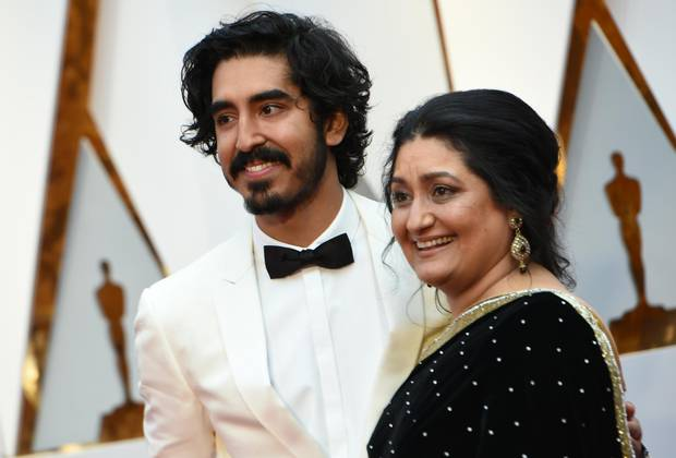 Dev Patel and his mother Anita.