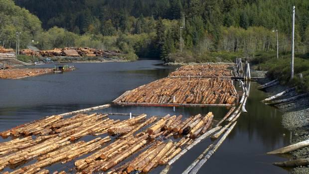 Log booms at the mouth of Jordan River.