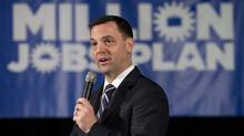 Ontario Progressive Conservative Leader Tim Hudak speaks at a town hall meeting in Ottawa on May 2, 2014, that suddenly became an election campaign launch. (Adrian Wyld/The Canadian Press)