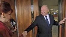 Mary Walsh, left, talks to Toronto Councillor Doug Ford at Toronto City Hall. (CBC)