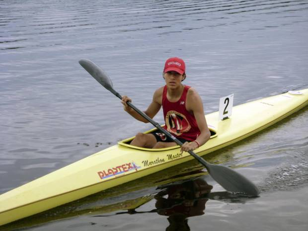 Dawson Nootchtai from Atikmeksheng Anishnawbek, just outside of Sudbury. At NAIG 2014, he won gold in every event he entered -- the 3,000 metre, 200 metre and 1,000 metre kayak races. He was only 14 competing in the U16 category. He's back again in 2017 on Ontario's U19 team. Indigenous games story