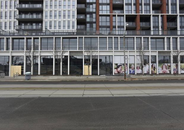 Store fronts sit empty along Dundas St. East near Sumach St., March 17 2016. The city is trying to encourage builders to create more affordable commercial spaces to create a tenant mix that isn't dominated by chains.