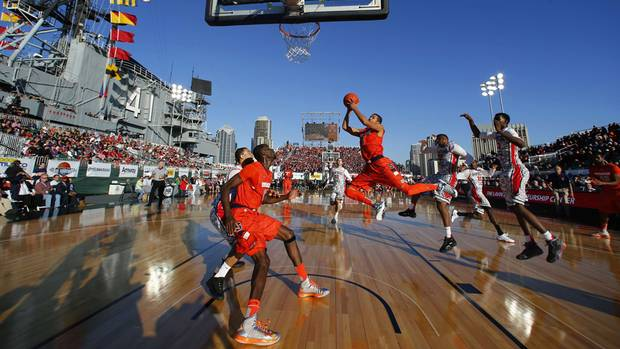 yracuse Orange guard Michael Carter-Williams (1) goes to the basket for two points against the San Diego State Aztecs during their NCAA season opening basketball game, on the flight deck of the decommissioned aircraft carrier USS Midway in San Diego, California November 11, 2012. (Mike Blake/Reuters)