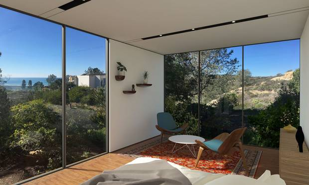 Ocean View Studio by Cover. This design maximizes ocean views while maintaining privacy with its neighbours.