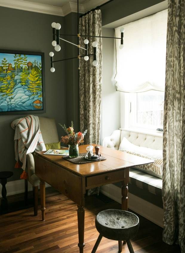 The beakfast nook off Toronto based interior designer Gillian Gilliesâ favourite room the kitchen.