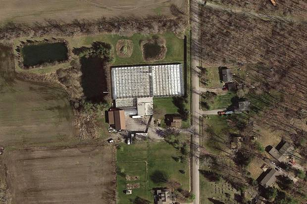 A satellite image of the Muileboom family's Niagara region farmhouse. Peter Muileboom was charged with unlawful production of marijuana.