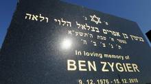 The tombstone of Ben Zygier stands at Chevra Kadisha Jewish Cemetery in Melbourne, Australia on Feb 15. 2013. Foreign reports about the mysterious death of the Australian-born Israeli man who allegedly worked for Israel's Mossad spy agency and died in an Israeli prison two years ago have sparked a rare backlash against the country's well-respected security agencies. (Andrew Brownbill/AP)