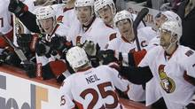 The Ottawa Senators' celebrate after Chris Neil opened the scoring against the Winnipeg Jets in Winnipeg. (Trevor Hagan/The Canadian Press/Trevor Hagan/The Canadian Press)