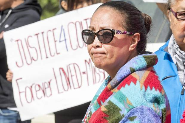 Debbie Baptiste, mother of Colten Boushie, looks on during a rally outside of court during Gerald Stanley's bail hearing.