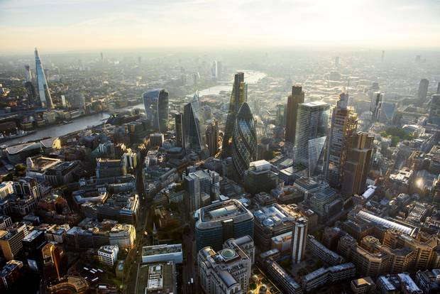 100 Bishopsgate joins the City's skyline, which includes the pickle-shaped 'Gherkin' at 30 St. Mary Axe and the 'Cheesegrater' at 122 Leadenhall St.