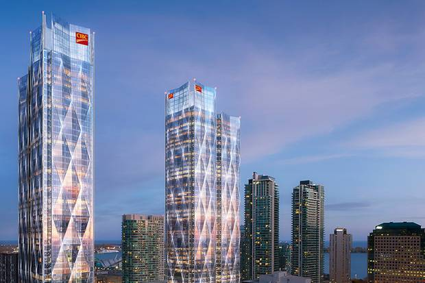 The under-construction CIBC Square project, shown in a rendering, will open on Bay Street in Toronto with the latest in technological advances – plus flexibility to deal with future needs.