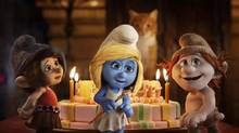 Vexy (Christina Ricci), Smurfette (Katy Perry) and Hackus (J.B. Smoove) in Columbia Pictures and Sony Pictures Animation's The Smurfs 2. (Courtesy of Sony Pictures Animation)