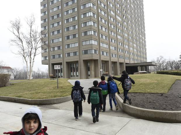 Ahmad Al Rasoul's sons head home with friends after school was over for another day at Thorncliffe Park School.