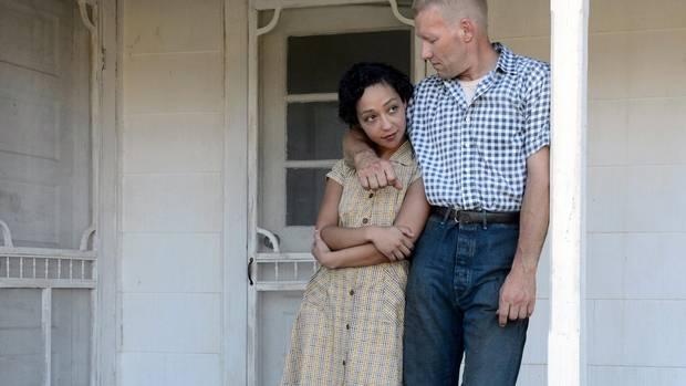 Ruth Negga (left) stars as Mildred and Joel Edgerton (right) stars as Richard in Loving.