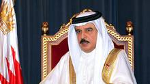 In this photo released by the government's Bahrain News Agency, Bahrain's King Hamad bin Isa Al Khalifa delivers a televised speech to the nation Sunday, Sept. 5, 2010, from Manama, Bahrain. (ASSOCIATED PRESS/ASSOCIATED PRESS)