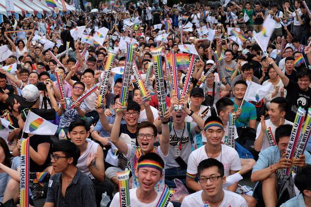 Crowds of pro-gay marriage supporters in Taiwan on May 24, 2017, cheered, hugged and wept as a top court ruled in favour of same-sex unions.