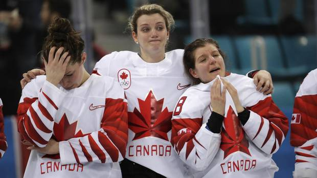 Memebers of Team Canada react during the medals ceremony for women's hockey at the 2018 Winter Olympics in Gangneung, South Korea, Thursday, Feb. 22, 2018.