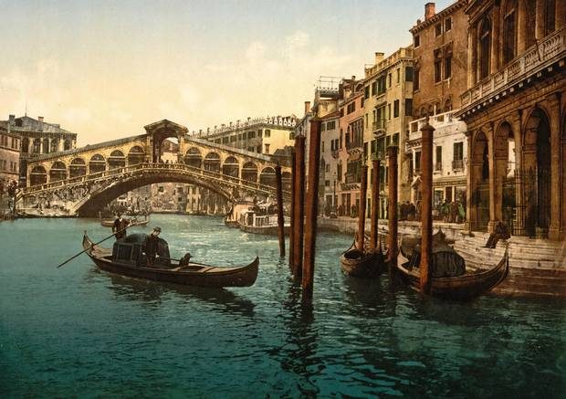 The Rialto Bridge, Venice, Italy, in the late-19th century.