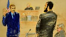 In this Pentagon-approved photograph of a sketch by Janet Hamlin, Omar Khadr, centre, pleads guilty under oath, addressing Captain Michael Grant, USAF on October 25, 2010 in Guantanamo Bay. (JANET HAMLIN/JANET HAMLIN/AFP/Getty Images)