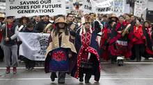 Protesters from the Heiltsuk First Nation in Vancouver, March 26, 2012, during rally against the proposed Enbridge Northern Gateway pipeline. Enbridge expects a majority of first nations groups along the proposed route to buy in to an equity stake, but coastal groups remain opposed. (John Lehmann/The Globe and Mail/John Lehmann/The Globe and Mail)