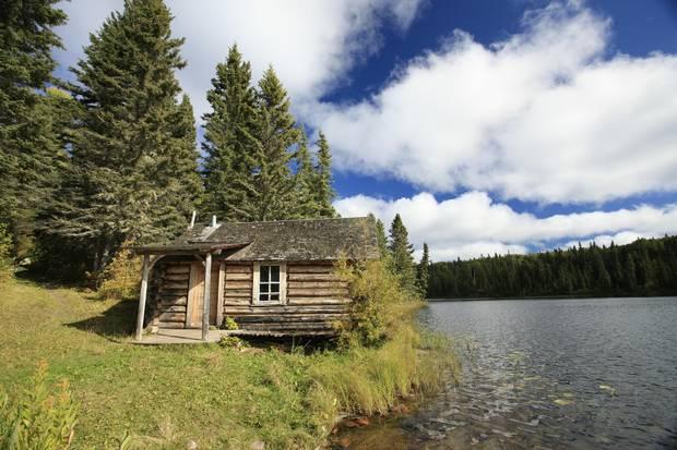 Grey Owl's Cabin on Ajawaan Lake in Prince Albert National Park.