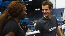 Andy Murray of Britain (R) and Serena Williams of the U.S. talk after the Draw Ceremony before the start of the 2013 U.S. Open tennis tournament at the USTA Billie Jean King National Tennis Center in New York, August 22, 2013. (EDUARDO MUNOZ/REUTERS)