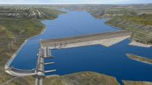 A conceptual rendering of the proposed Site C dam project. (Courtesy BC Hydro)